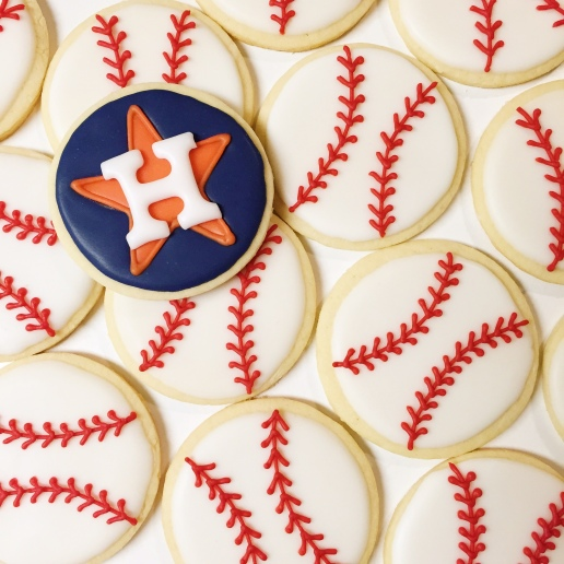 Houston Astros Baseball Cookies / © Dallas Bakes! 2015