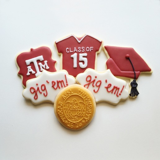 Texas A&M Graduation Cookies / © Dallas Bakes! 2015