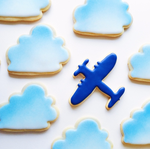Baby Shower Cloud and Plane Cookies