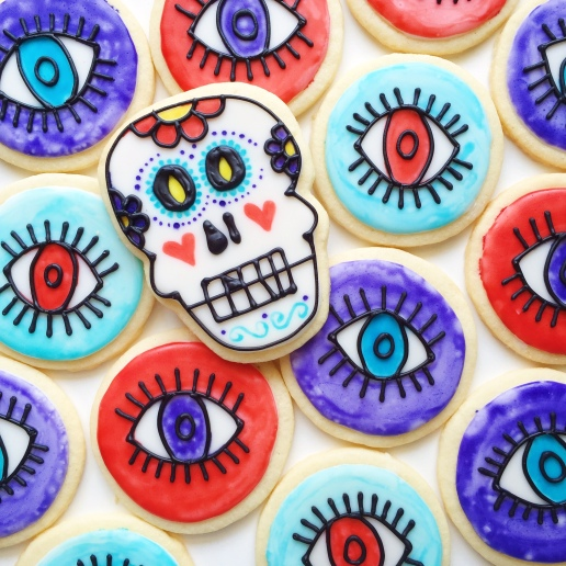 Gluten Free Sugar Skull and Evil Eye Cookies / © Dallas Bakes! 2015