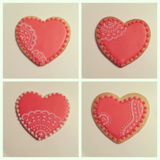 Pink Lace Heart Cookies