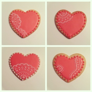 Pink Lace Heart Cookies / © Dallas Bakes! 2013