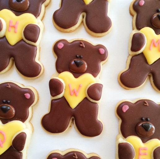 Teddy Bear Birthday Cookies / © Dallas Bakes! 2015